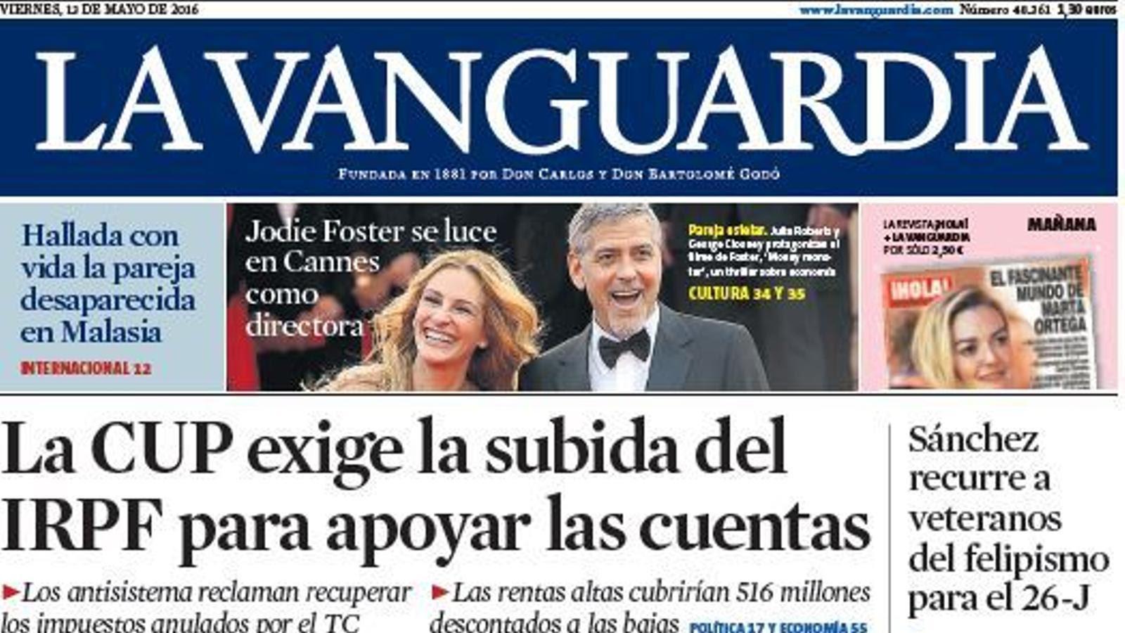 Portada de 'La Vanguardia'