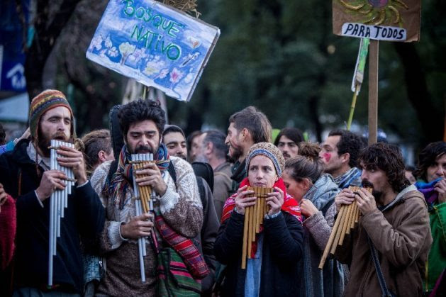 A 2017 demonstration in the capital of the province of Córdoba, Argentina, against government plans for laxer zoning and land-use management, which would have favoured deforestation, successfully blocked the initiative. Credit: Sebastián Salguero / Greenpeace