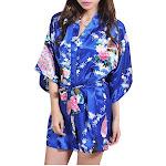 Womens Short Floral Silk Kimono Robe, 2 to 18, Bride and Bridesmaid Robes, Jewel Blue