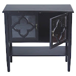 Heather Ann Creations W191302-BLK Frasera 2-Door Console Cabinet with Quatrefoil Glass Inserts & Shelf - Black