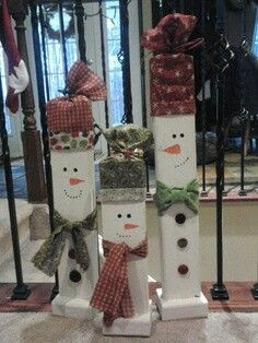 Cute rustic primitive wood craft snowman snowmen