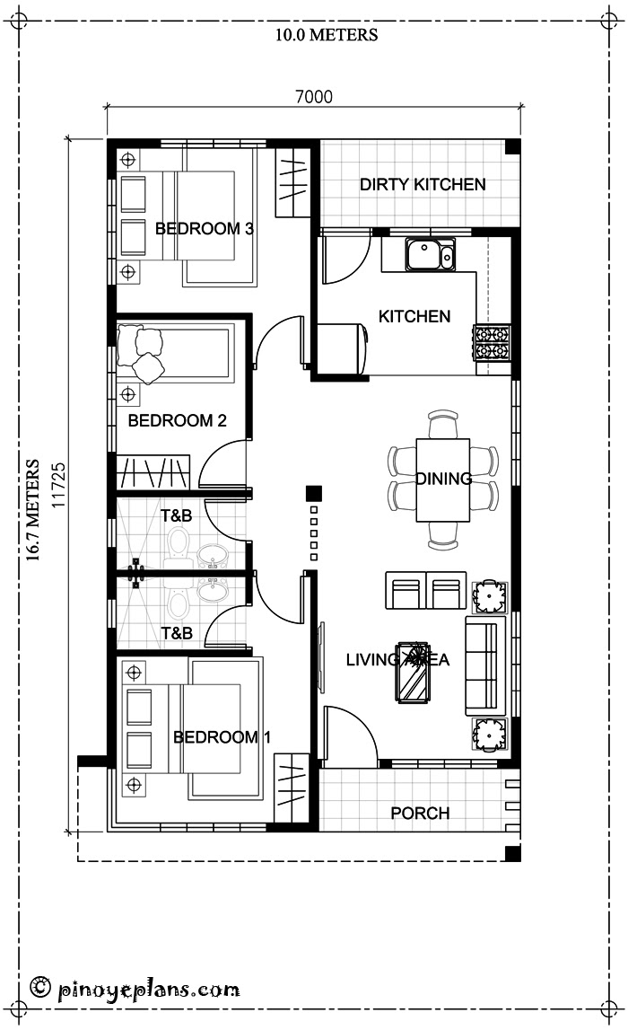 Home design 10x16m with 3 bedrooms - House Plan Map