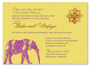 Painted Elephant Classic Wedding Invites