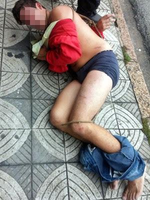Suspeito de assaltar foi amarrado por moradores em Sorocaba (Foto: Arquivo pessoal)
