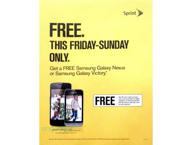 DNP Sprint Black Friday ad outs free Galaxy Nexus and Galaxy Victory
