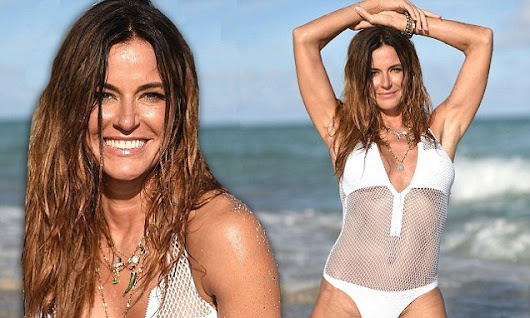 Kelly Bensimon, 47, flaunts her ripped abs in mesh swimsuit in Miami