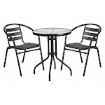 Flash Furniture Tlh-071Rd-017Cbk2-Gg Patio Table Set,blk,rnd,triple Sl