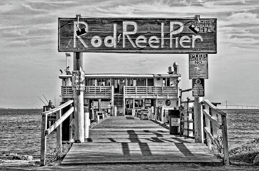 A Pier Called The Rod And Reel Bw by HH Photography of Florida