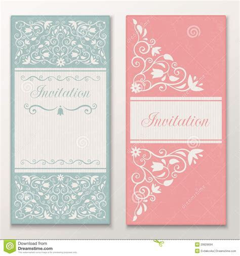 Set Of Beautiful Wedding Invitations. Stock Vector   Image