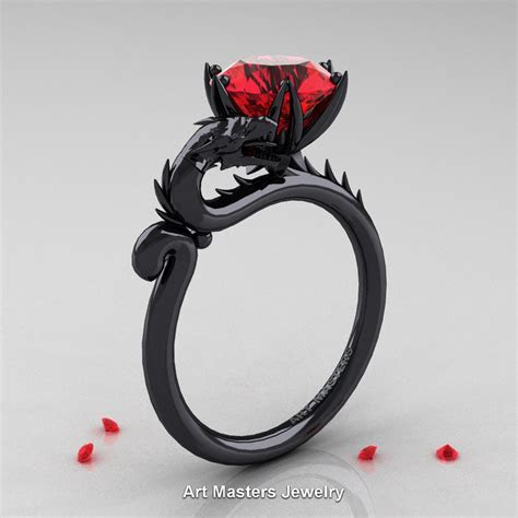 Art Masters 14K Black Gold 3.0 Ct Ruby Dragon Engagement
