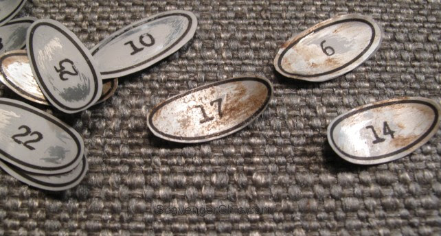 DIY Vintage Metal Numbers  for cubby organizer shelves