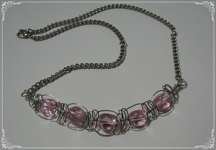 Wire Macrame Necklace with 5 Pink Glass Beads No by EdwardsJewelry, $25.00