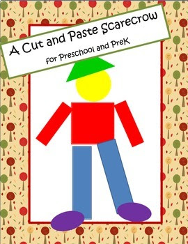 Scarecrow Cut and Paste with Shapes and Colors for Preschool