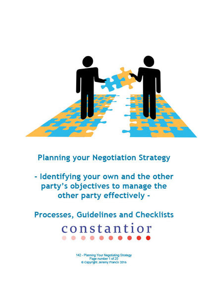 Planning your Negotiation Strategy – Constantior Resources