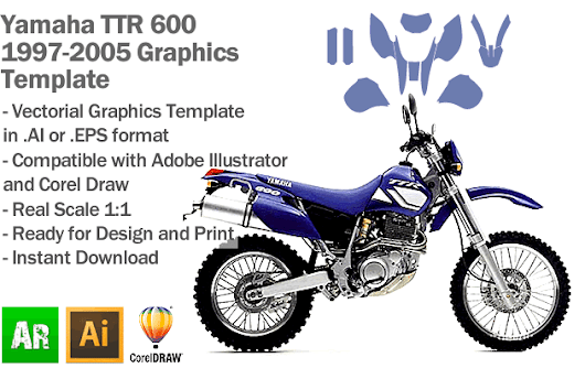 Yamaha TTR 600 Enduro Trail 1997 1998 1999 2000 2001 2002 2003 2004 2005 Graphics Template - Artabrian - Motocross MX Graphic Templates