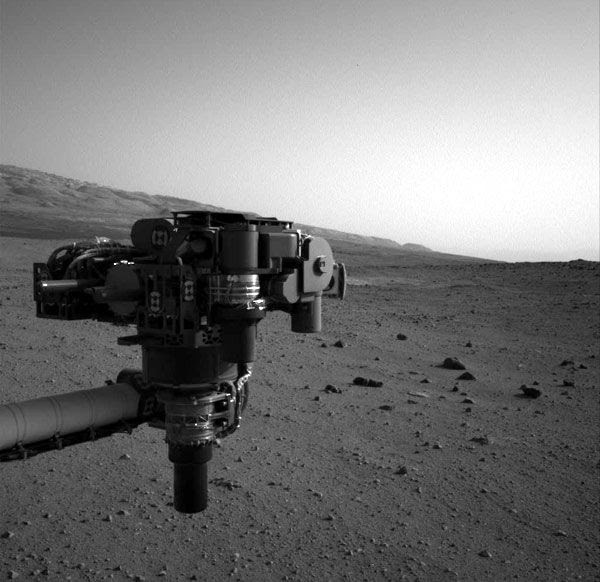 The Navcam on the Curiosity Mars rover took this image of the robotic arm last month.