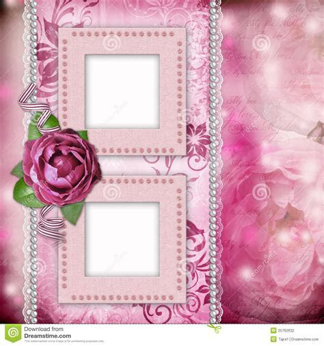 Romantic Background With Frames, Rose, Lace Stock