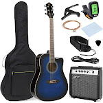 Best Choice Products 41in Full Size Acoustic Electric Cutaway Guitar Set with 10-Watt Amp, Capo, E-Tuner, Case - Blue