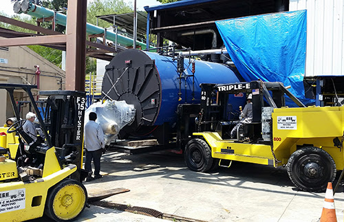 Removal and replacement of 100,000-pound boiler - Triple-E Machinery Moving, Inc.