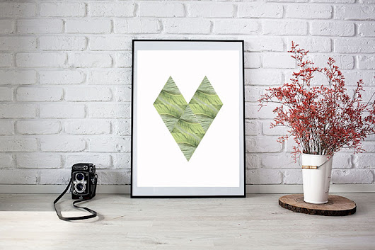 Printable Scandinavian Style Tropical Heart Art - Casa Watkins Living