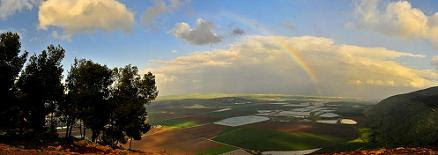 Rain  and sun above Jezreel Valley, Israel