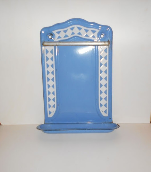 Vintage French Enamel Blue and White Ustensil Drainer