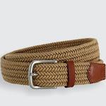 Boca Braided Waxed Cotton Stretch Belt - Light Tan