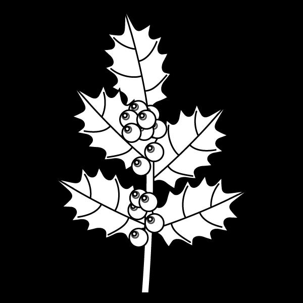 塗り絵に最適な白黒でかわいいヒイラギの無料イラスト商用フリー