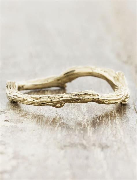Vine: Natural Tree Bark Textured Wedding Ring   Ken & Dana