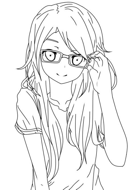 girl  glasses lineart  salamandershadowdeviantart