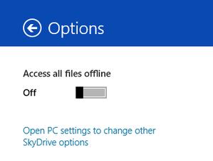 opções SkyDrive metro