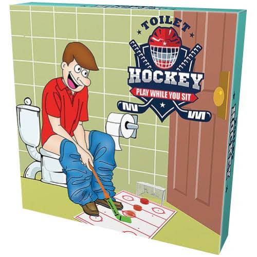 Island Dogs Toilet Hockey - Bathroom Becomes Your Game Room w/ Stick, Puck, Mat & Goal