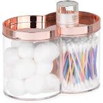 mDesign Stacking Bathroom Vanity Storage Canister Jar Clear/Rose Gold   Clear/Rose Gold   mDesign Home Decor