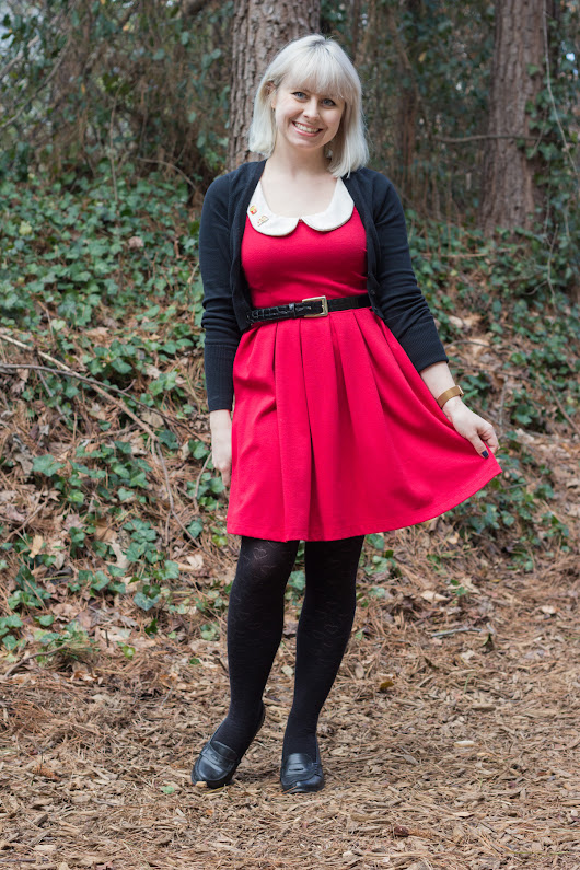 Outfit: Heart Print Tights, Food Pins, Red Dress, and Loafer Heels