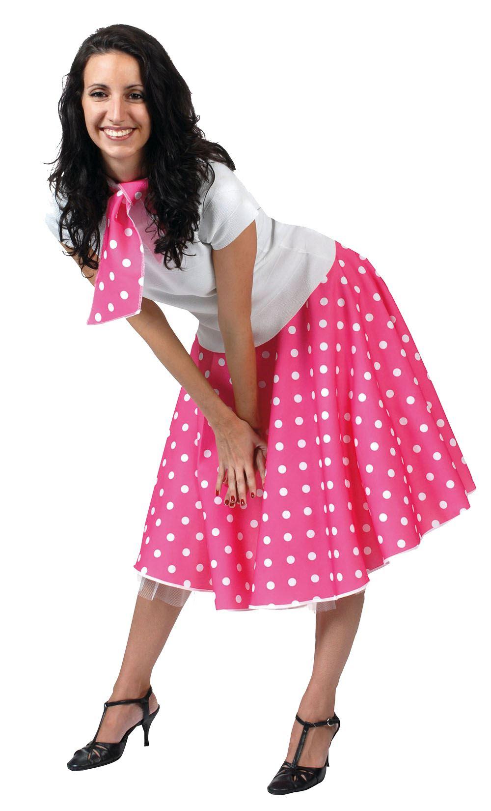 ladies polka dot rock n roll skirt  scarf 50s 60s fancy