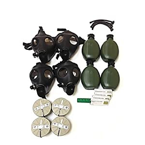 Israeli Gas Mask Full Family Kit, Four (4) Adults Gas Masks, NBC Filters, Canteens, Straws & Anti Radiation 20 Tablets of Potassium Iodide