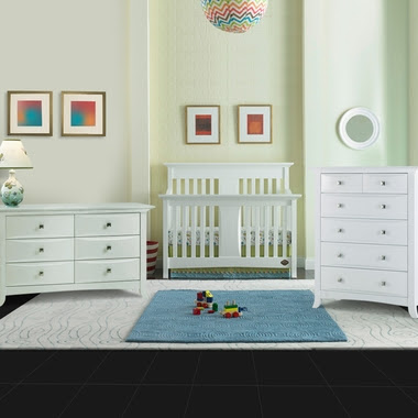 Bonavita 3 Piece Nursery Set - Harper Lifestyle 4 in 1 Convertible Crib and Double Dresser and 5 Drawer Dresser in Classic White - Click to enlarge