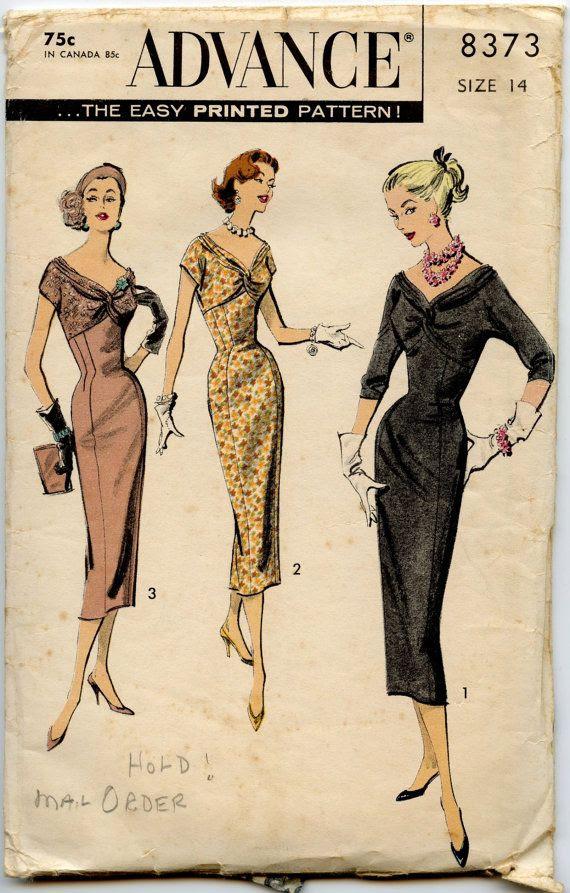 1950s Dress Pattern Advance 8373 Vintage Dress by GreyDogVintage, $30.00