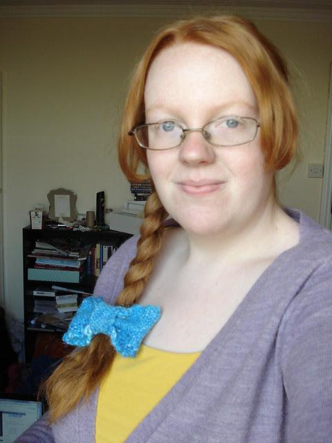 Dressup knitted toys blue hair ribbon elastic