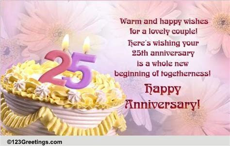 25th Anniversary! Free Milestones eCards, Greeting Cards