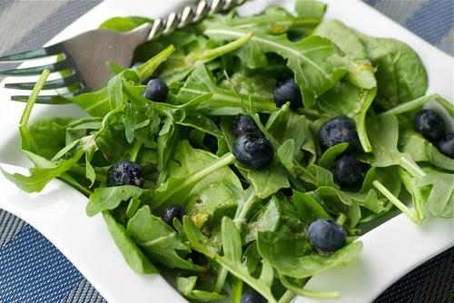 arugula, baby spinach, and blueberry salad