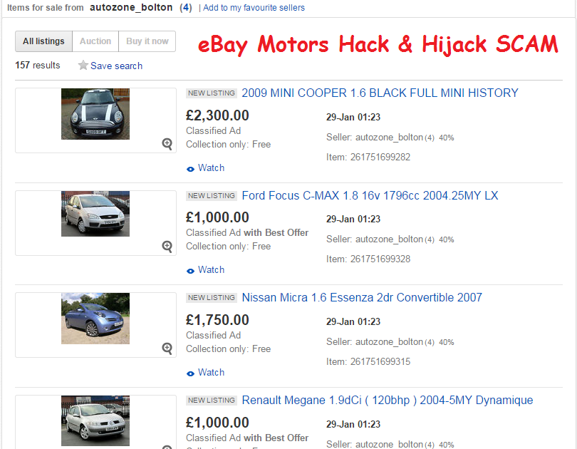 Ebay scam - dealer hijack - cambrian cars - autozone bolton - 157 ...