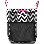 Zodaca Black/ White/ Pink Trim Baby Cart Strollers Bag Buggy Pushchair Organizer Basket Storage Bag for Walk Shopping