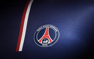 Download wallpapers PSG, French Football Club, logo, blue fabric background, T-shirt, emblem, Paris Saint-Germain, France, football besthqwallpapers.com