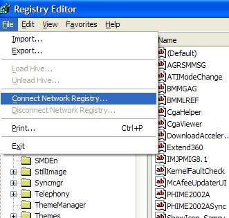 Remote registry editing