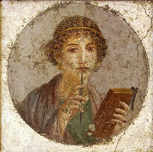 So-called Sappho, fourth style fresco; Pompeii...