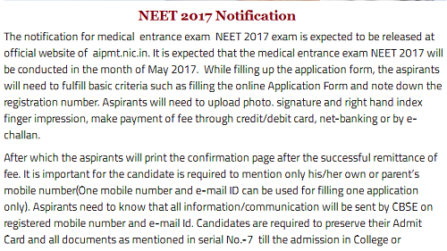 NEET 2017 Notification - Application Form & Download PDF for All Language