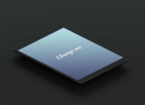 isometric matte black ipad pro  mockup psd good