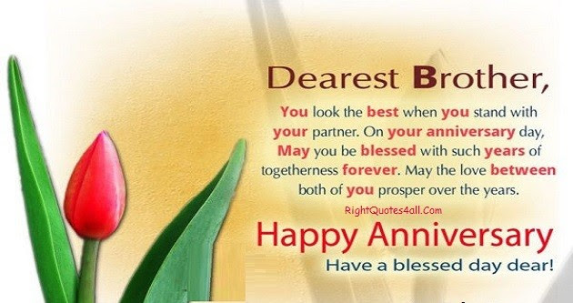 Wedding Anniversary Wishes For Brother From Sister