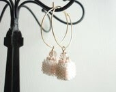 Perfume Charm Hoop Earrings - Beaded bead -14k gold filled - Swarovski - Hoop - Earrings - TIARAjewel